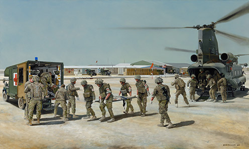 Casualties arriving at the 'Role 3 Hospital', Camp Bastion