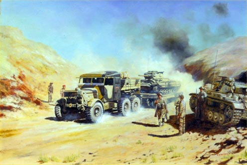 REME Scammell Tractor Towing a Valentine Tank